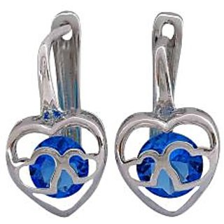 Maayra Double Hearts Blue Silver American Diamond Casualwear Clip On Earrings
