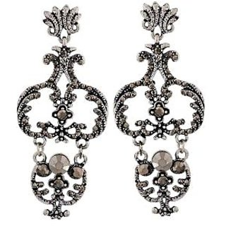 Maayra Grand Grey Silver Designer College Drop Earrings