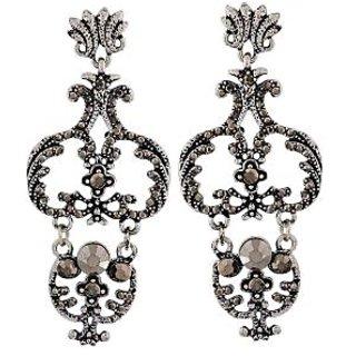 Maayra Grand Grey Silver Designer College Drop Earrings