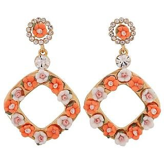 Maayra Bright Orange White Designer Casualwear Drop Earrings