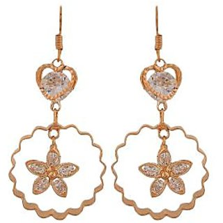 Maayra Cool Gold Stone Crystals College Dangler Earrings