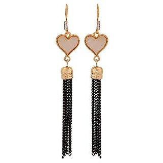 Maayra Dashing Off-White Black Designer Get-Together Drop Earrings
