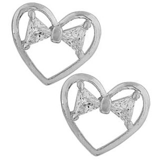 Maayra Superb Silver Stone Crystals Party Stud Earrings