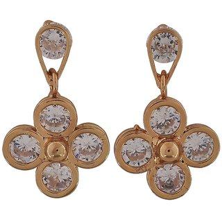 Maayra Bright Gold Stone Crystals Casualwear Drop Earrings