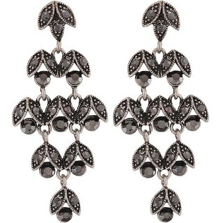 Maayra Suave Silver Designer Cocktail Drop Earrings