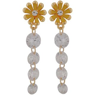 Maayra Dashing Yellow Stone Crystals Get-Together Drop Earrings