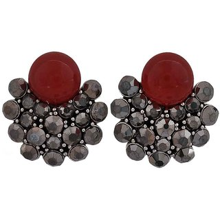 Maayra Hot Maroon Silver Designer Casualwear Drop Earrings