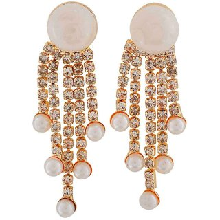 Maayra Adorable White Pearl Cocktail Drop Earrings