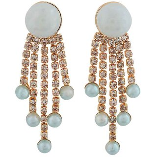 Maayra Plush Blue Gold Pearl Cocktail Drop Earrings