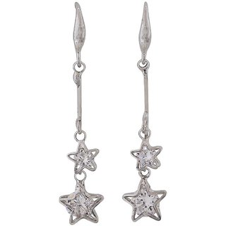 Maayra Class Silver Stone Crystals College Dangler Earrings