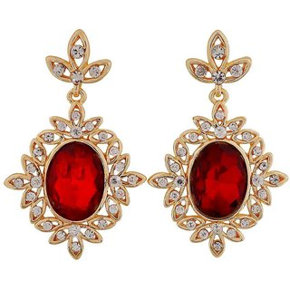 Maayra Terrific Red Gold Stone Crystals Cocktail Drop Earrings