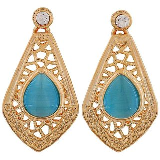 Maayra Fantastic Blue Gold Stone Crystals Get-Together Drop Earrings