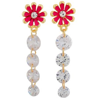 Maayra Smashing Pink Stone Crystals Party Drop Earrings