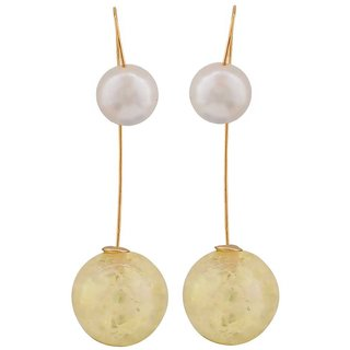 Maayra Plush Yellow White Pearl Casualwear Drop Earrings