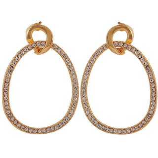 Maayra Awesome Gold Stone Crystals Get-Together Drop Earrings
