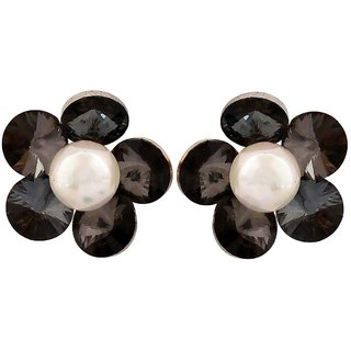Maayra Cute White Black Indian Ethnic Casualwear Stud Earrings