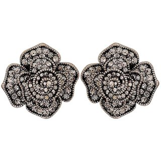 Maayra Lovable Silver Stone Crystals Get-Together Stud Earrings