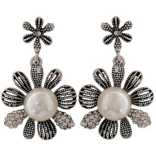 Maayra Classy White Silver Pearl Get-Together Drop Earrings