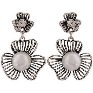 Maayra Sexy White Silver Pearl Casualwear Drop Earrings