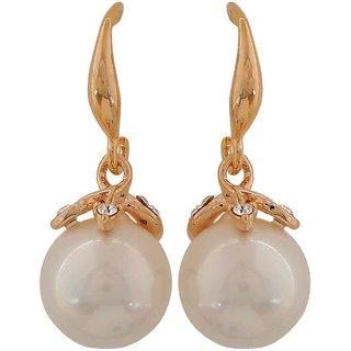 Maayra Class White Gold Pearl College Drop Earrings