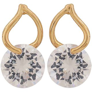 Maayra Terrific Gold Stone Crystals Cocktail Stud Earrings