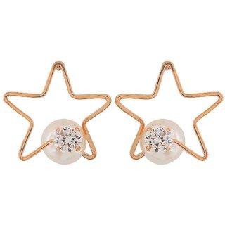Maayra Fabulous White Gold Pearl Casualwear Drop Earrings