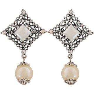 Maayra Fab White Silver Pearl College Drop Earrings