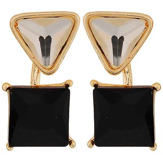 Maayra Sizzling Black Stone Crystals Cocktail Drop Earrings