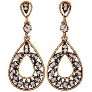 Maayra Shining Bronze Stone Crystals Casualwear Drop Earrings