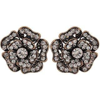 Maayra Elegant Bronze Stone Crystals Cocktail Stud Earrings