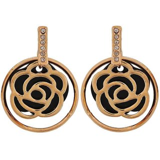 Maayra Stylish Black Bronze Designer College Drop Earrings