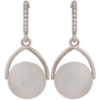Maayra Exclusive White Silver Pearl Party Drop Earrings