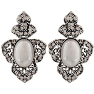 Maayra Lively White Silver Pearl Cocktail Drop Earrings