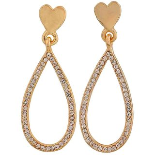 Maayra Special Gold Stone Crystals Party Drop Earrings