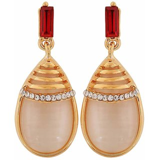 Maayra Sensual Red Off-White Designer Party Drop Earrings