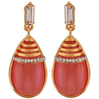 Maayra Classy Pink Gold Designer Get-Together Drop Earrings