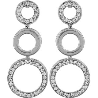 Maayra Terrific Silver Designer Cocktail Drop Earrings