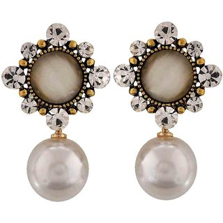 Maayra Fantastic White Pearl Get-Together Clip On Earrings