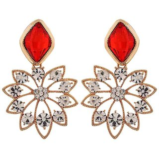 Maayra Smashing Red Stone Crystals Party Drop Earrings