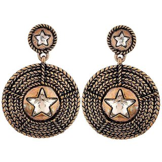 Maayra Smart Bronze Stone Crystals Party Drop Earrings
