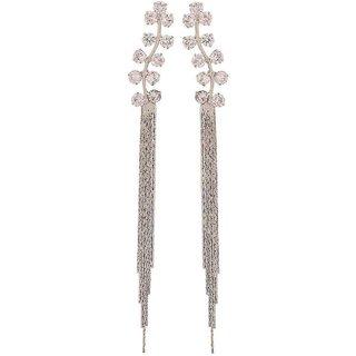 Maayra Great Silver Stone Crystals Casualwear Tassel Earrings