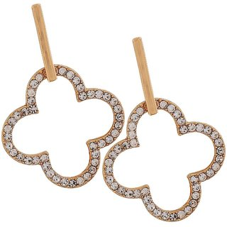 Maayra Pretty Gold Stone Crystals College Drop Earrings