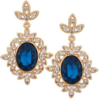 Maayra Graceful Blue Gold Stone Crystals Get-Together Drop Earrings