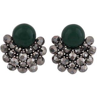 Maayra Great Green Silver Designer Casualwear Drop Earrings