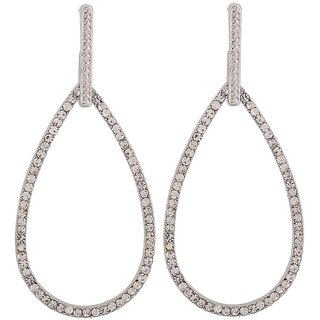 Maayra Artistic Silver Stone Crystals College Drop Earrings