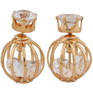 Maayra Trendy Gold Stone Crystals College Stud Earrings