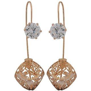 Maayra Posh Bronze Stone Crystals Party Drop Earrings