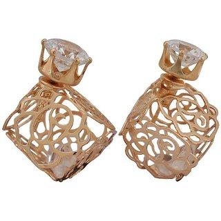 Maayra Bright Gold Filigree Cocktail Stud Earrings