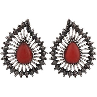 Maayra Cool Red Silver Filigree Get-Together Drop Earrings