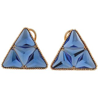 Maayra Classy Blue Stone Crystals Casualwear Clip On Earrings